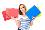unhappy woman with folders
