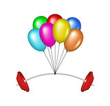 Multicolored glossy balloons lifting a heavy barbell