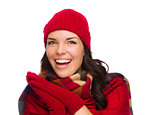 Excited Mixed Race Woman Wearing Winter Hat and Gloves