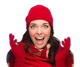 Ecstatic Mixed Race Woman Wearing Winter Hat and Gloves