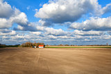 beautiful sky over dutch farmland