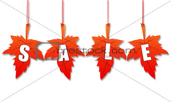 autumn sale in 3d leaves