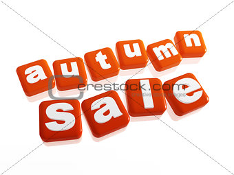 autumn sale - text in orange cubes
