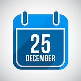 December 25 Calendar Icon. Flat Icon With Long Shadow. Christmas Day. Vector Background.