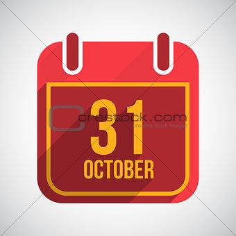 Calendar 31 October. Flat calendar icon with long shadow. Halloween Vector Background.