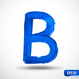 Alphabet Letter B. Watercolor Alphabet. Vector Background