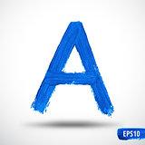Alphabet Letter A. Watercolor Alphabet. Vector Background