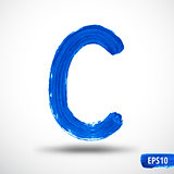 Alphabet Letter C. Watercolor Alphabet. Vector Background
