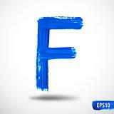 Alphabet Letter F. Watercolor Alphabet. Vector Background