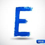 Alphabet Letter E. Watercolor Alphabet. Vector Background