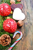 Christmas balls, cookies and nuts.