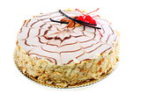 Esterhazy almond cake with red cherries.