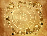Gold Happy New Year  background  with clock