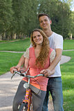 Young couple on a bike