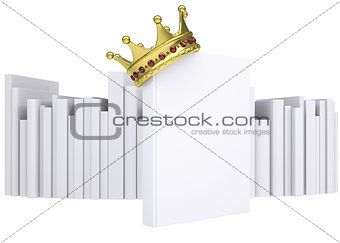 A white book and gold crown