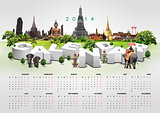 Calendar 2014 on travel background
