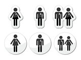 Man and woman, people with awareness ribbons icons