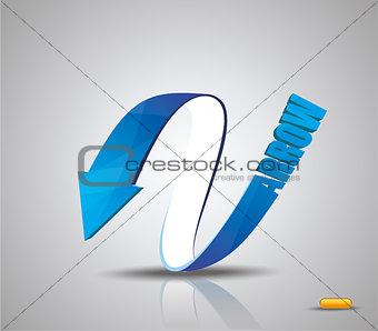 Blue Arrow. Vector Symbol.