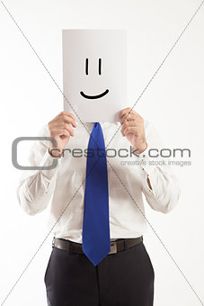 Business man holding paper smile