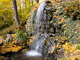 waterfall in the autumn park