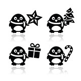 Christmas cute penguin vector icons set