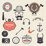Hipster style design elements and icons set. Sunglasses, mustach