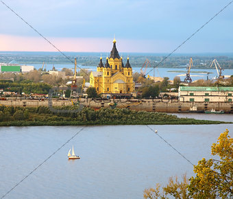 Alexander Nevsky Cathedral and sailboat on confluence rivers Niz