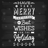 Christmas and Holiday Season Greetings chalkboard