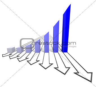 Arrowed business chart blue