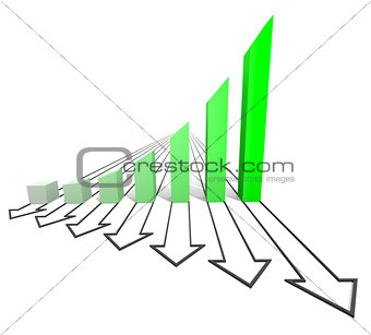 Arrowed business chart green