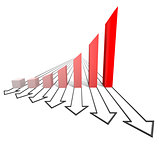 Arrowed business chart isolated red