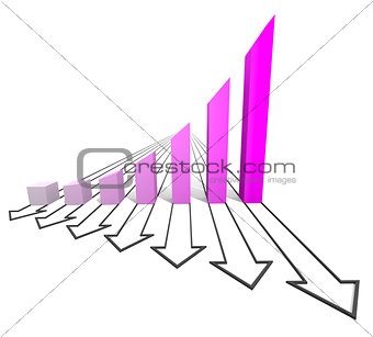Arrowed business chart violet