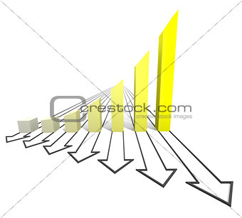 Arrowed business yellow chart