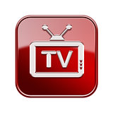 TV icon glossy red, isolated on white background
