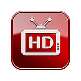 TV icon glossy red, , isolated on white background