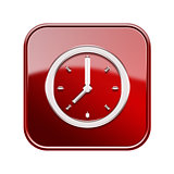 Clock icon glossy red, isolated on white background