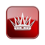 Crown icon glossy red, isolated on white background