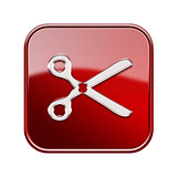 Scissors icon glossy red, isolated on white background