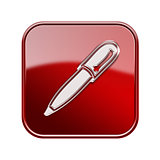 Pen icon glossy red, isolated on white background