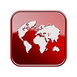 World icon glossy red, isolated on white background