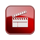 movie clapper board icon glossy red, isolated on white backgroun