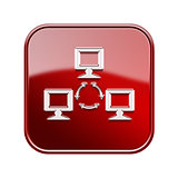 Network icon glossy red, isolated on white background.