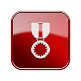 medal icon glossy red, isolated on white background.