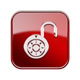 Lock on icon glossy red, isolated on white background.