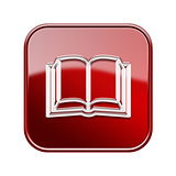 book icon glossy red, isolated on white background