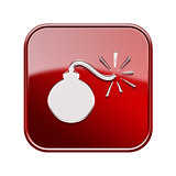 bomb icon glossy red, isolated on white background