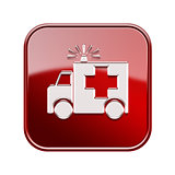 First aid icon glossy red, isolated on white background.