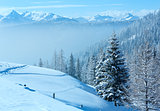 Morning winter misty mountain landscape