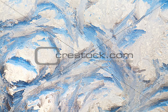 background of painting on the frozen window by frost - nobody
