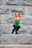 jumping young girl